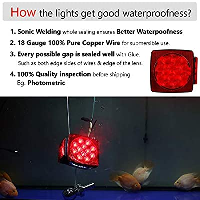 CZC AUTO 12V LED Submersible Trailer Tail Light Kit for Under 80 Inch Boat Trailer Marine with 18G Pure Copper Wiring Harness Kit (Exclusive Trailer Light kit): Automotive