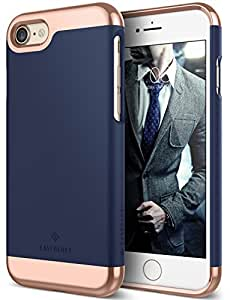 iPhone 7 Case, Caseology [Savoy Series] Slim Premium Luxury Protective Two-Piece Removable Chrome Slider [Navy Blue] for Apple iPhone 7 (2016)