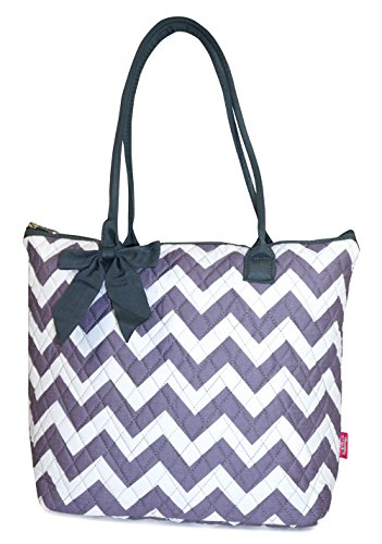 Quilted Grey Chevron Tote Bag product image