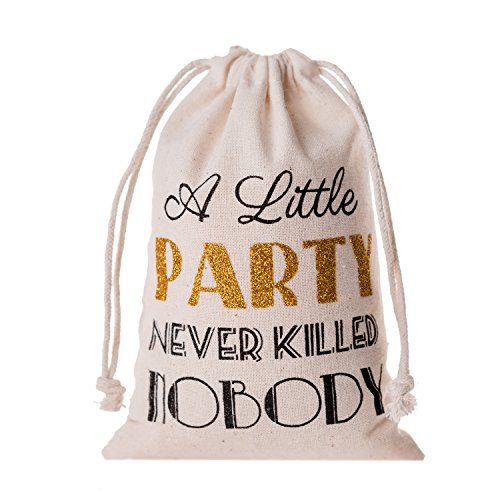 Memory Journey Bachelorette Party Favor Bags,Gatsby Wedding Welcome Recovery Party Favor Muslin Gift Groomsmen Bachelor Bridesmaid Bridal,Emergency Kit Favor Bag - A Little Party Never Killed ()