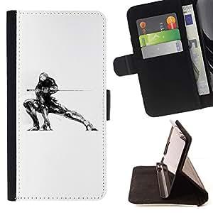 For Motorola Moto E ( 2nd Generation ) Case , Samurai Mech Warrior- la tarjeta de Crédito Slots PU Funda de cuero Monedero caso cubierta de piel