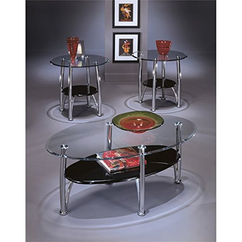 Glass Occasional Coffee Table (Signature Design by Ashley Dempsey 3 Piece Occasional Table Set, Chrome)