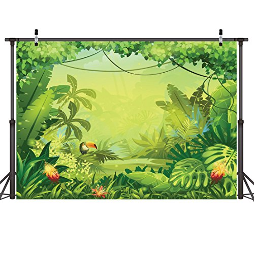 LYWYGG 7x5ft Thin Vinyl Animation-Jungle Photography Backdrops Backdrop Photo Background Kids Photo Studio Props Children Birthday Baby Shower Photo Booth Newborn Photography Props -