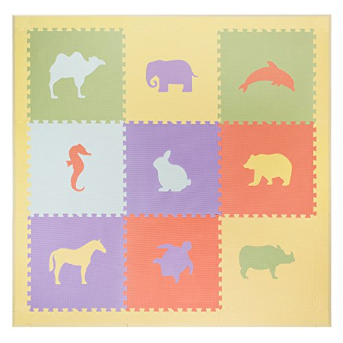 Foam Floors Extra Large Soft Mat for Babies and Kids, Safe Thick Non-Toxic Cute Pastel Animals (Pastel Animals)