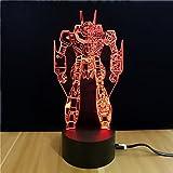 Autobots Light 3D Optical Illusion Transformers Panel Model Lighting Night 7 Color Change USB Touch button LED Desk Table Light Lamp