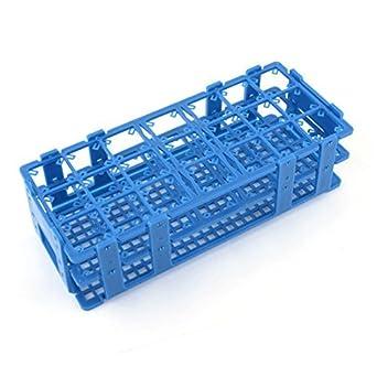 Azul del trullo de plástico 21 agujeros de las cajas del sostenedor del estante de tubos de centrífuga DE 50 ml: Amazon.com: Industrial & Scientific