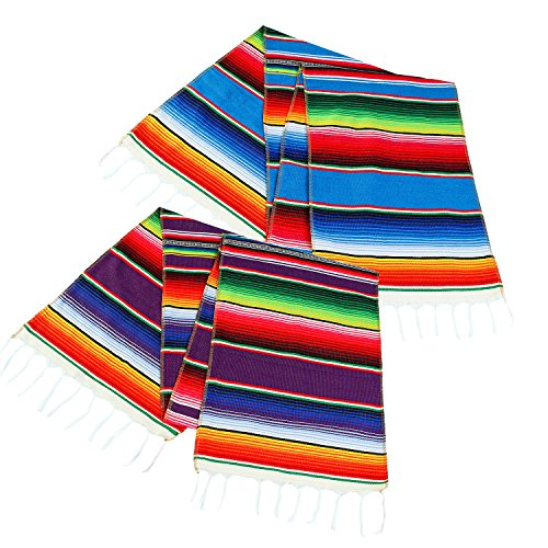 Aneco 2 Pack 14 by 84 Inch Mexican Table Runner Mexican Serape Blanket Cotton Colorful Fringe Table Runners for Mexican Party Wedding Kitchen Outdoor Decorations by Aneco