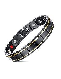 JFUME Magnetic Bracelet for Men Stainless Steel Bracelet Gold Black Bracelet 8.3Inches