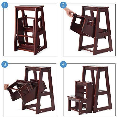 Costzon Folding Step Stool 3 Tier Wood Ladder (Dark nut-brown)