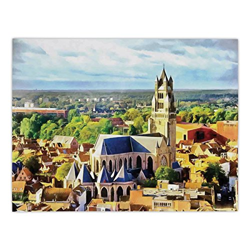 (Polyester Rectangular Tablecloth,Medieval Decor,Aerial Photo of Old Medieval Church and Gothic Town Middle Age Renaissance Europe Building,Multi,Dining Room Kitchen Picnic Table Cloth Cover,for Outdoo)