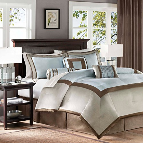 Madison Park Genevieve Cal King Size Bed Comforter Set Bed In A Bag - Auqa, Taupe, Pieced – 7 Pieces Bedding Sets – Faux Silk Bedroom - Bedroom King Set California Contemporary
