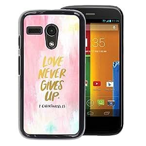 Supergiant (Love Never Gives Up Watercolor Gold Text) Impreso colorido protector duro espalda Funda piel de Shell para Motorola Moto G 1 1ST Gen