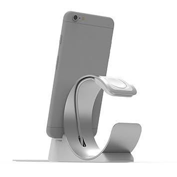 PINHEN - Cargador portátil para Apple Watch, Soporte de Carga de Aluminio, Soporte de Base para batería Externa de 1500 mAh, Banco de energía portátil ...