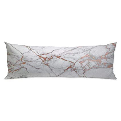 GUGLILI Colorful Marble Texture Soft Body Pillow Covers Pillowcase With Zipper Twin Sides For Home Couch Sofa Bedding Decorative 20 X54 Rose Gold