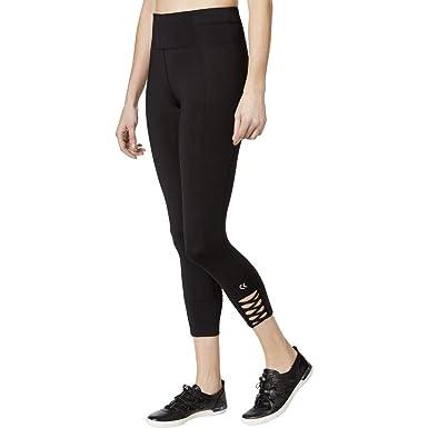 7b4426224ae858 Calvin Klein Performance Women's Lattice Cuff High Waist Crop Leggings at  Amazon Women's Clothing store: