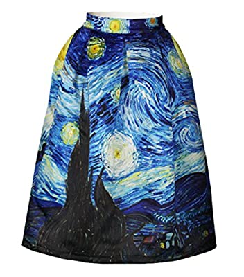 EnlaChic Women's High Waisted Printed Pleated Flared Midi Skirt