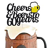 60 Birthday Cake Topper,Cheers & Beers to 60 Years Cake Topper,60th Birthday Wedding Anniversary Party Supplies Glitter Decorations 1 Set