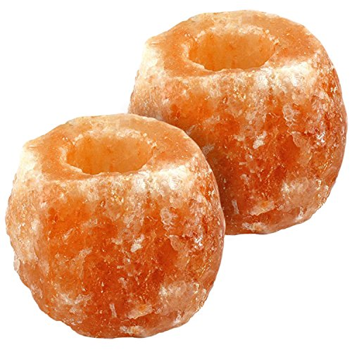 Crystal Allies Gallery: CA SCH-NAT-2pc Pack of 2 Natural Himalayan Salt Tea Light Candle Holder