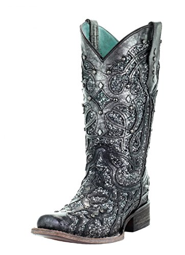 Corral Women's Square Toe Glittered Inlay Cowgirl Boot - Black/Grey - BLACK/GREY - 7.5 - M