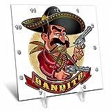 3dRose Carsten Reisinger - Illustrations - Cool Bandito Mexican Guy with Big Guns Smiling - 6x6 Desk Clock (dc_282679_1)