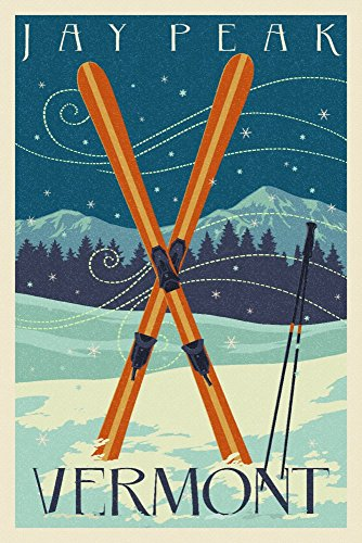 Jay Peak, Vermont - Crossed Skis - Letterpress (16x24 Giclee Gallery Print, Wall Decor Travel Poster)