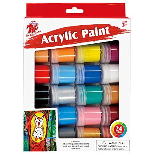 - TBC Creative Acrylic Paint Set, 24 Basics Colors in Bottles/ Cans (15ml/0.5oz), Rich Pigments, Great for School, Arts and Crafts Projects, Ideal Gift for Kids