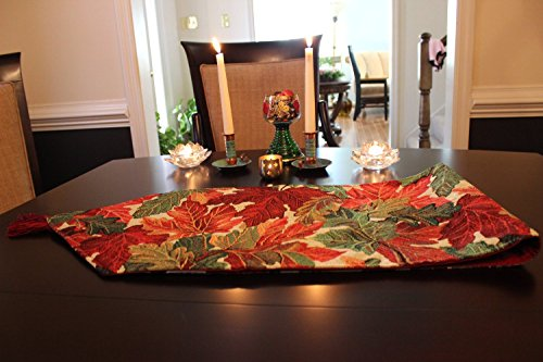 Tache 13 x 90 Inch Tapestry Warm Colorful Thanksgiving Leaves Fall Foliage Table Runners