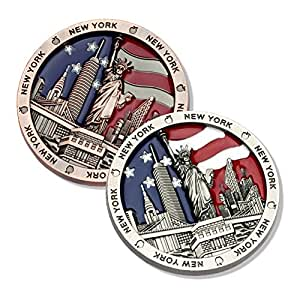 [Set of 2] US American Flag with New York Statue of Liberty, Flatiron, Brooklyn Bridge, Empire State, Chrysler Building NY Souvenir Collectible Metal Fridge Magnet