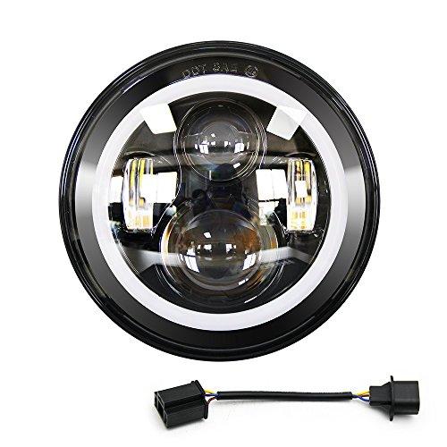 Uni-light LED Round Headlight 7 inch Angel Eyes Cree DOT/E-MARK Approved 6000K Hi/lo Beam and DRL lamp Halo for Jeep Wrangler JK TJ LJ Harley Davidson, J003 (Outdoor Est Lighting)
