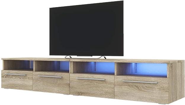 siena double meuble tv banc tv 200 cm effet chene avec led