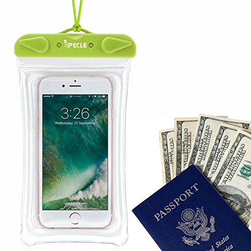 Waterproof Cell Phone Case, iSPECLE 3 Pack Waterproof Cases Pouch Dry Bag for iPhone 8 7 6S Plus 5 SE X Nexus 6P 5X, Samsung Galaxy S8 Edge Kayaking Snorkeling Swimming Fishing Beach Green Orange Pink by iSPECLE (Image #4)