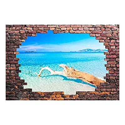Wall26 - Large Wall Mural - Tropical Seascape Viewed Through a Broken Brick Wall | 3D Visual Effect Self-Adhesive Vinyl Wallpaper/Removable Modern Decorating Wall Art - 66