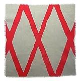 Gitika Goyal Home Windows Collection Cotton Khadi  Grey Napkin 17x17 Diamond Design, Red Hand Screen Print