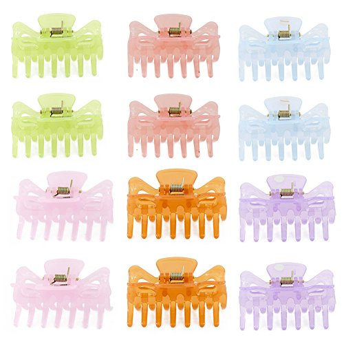 Yeshan Mix Colored Bow Design Small Claw Hair Clip,Plastic No-Slip Grip Jaw Hair Clip for Girls and Women,Pack of 12