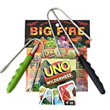 Big Fire CAMPING FUN KIT | Kid Safe Telescoping Marshmallow Roasting Sticks Telescopic Smores Skewers Hot Dog Forks Color Changing Campfire Packets | UNO Wilderness Game