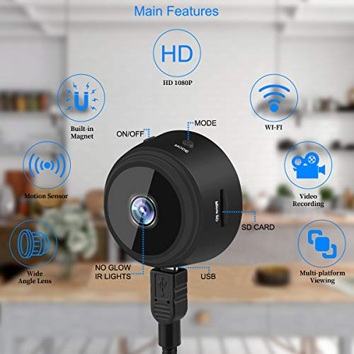 Mini Spy Camera Ansody WiFi Wireless Hidden Video Camera HD 1080P Security Surveillance Cameras with 32G SD Card,150° Wide-Angle Lens,Magnetic Feature,Night Vision Motion Detection for Indoor Outdoor