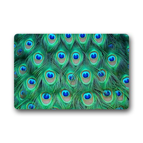 Beautiful Green Peacock Feather Pattern Doormats Entrance Mat Floor Mat Door Mat Rug Indoor/Outdoor/Front Door/Bathroom Mats Rubber Non Slip (23.6