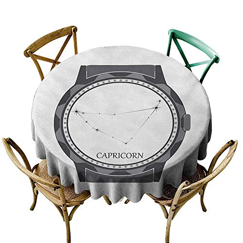 - Zmstroy Wrinkle Resistant Tablecloth Zodiac Capricorn Greyscale Watch Dial Design with Horoscope Constellation Motif Party D43 Grey Charcoal Grey