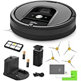 iRobot Roomba 960 Vacuum Cleaning Robot + Dual Mode Virtual Wall Barriers (With Batteries) + Extra High Efficiency Filter + 4 Extra Sidebrushes + More