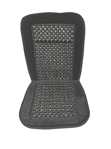 One Set Car Wooden Bead Cushion Seat Velour Massage Beaded Cover Chair Home Office Comfort Cushion - Reduces Fatigue (Black)