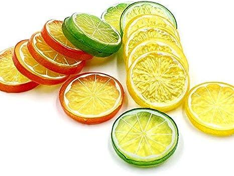 Rouge Vert Jaune, Chaque Couleur 10pcs Lorigun 30pcs Faux tranches de Citron garnir des Fruits artificiels d/écoration de Maison de Faux Aliments