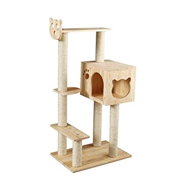 Weiwei Sólido madera gato escalada marco sisal gato camada gato rack gato captura gato placa saltar plataforma para dormir juego: Amazon.es: Hogar
