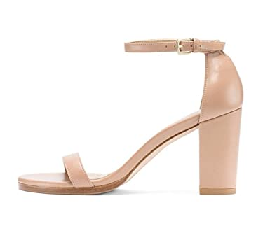 139586e4db9 Sammitop Women s Open Toe Mid Chunky Heel Sandals Ankle Strap Ladies Summer  Dress Shoes Beige US5