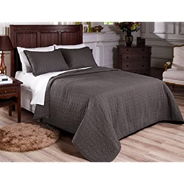 Chezmoi Collection 3-Piece Vintage Washed Solid Cotton Quilt and Shams Set, King, Gray