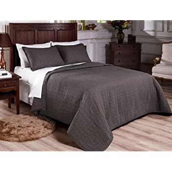 Chezmoi Collection 3-Piece Vintage Washed Solid Cotton Quilt and Shams Set, Full/Queen, Gray