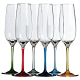 galley kitchen designs MB Coastal Designs Party Shatter Proof Champagne Glass with Colored Stem, Clear, Set of 6