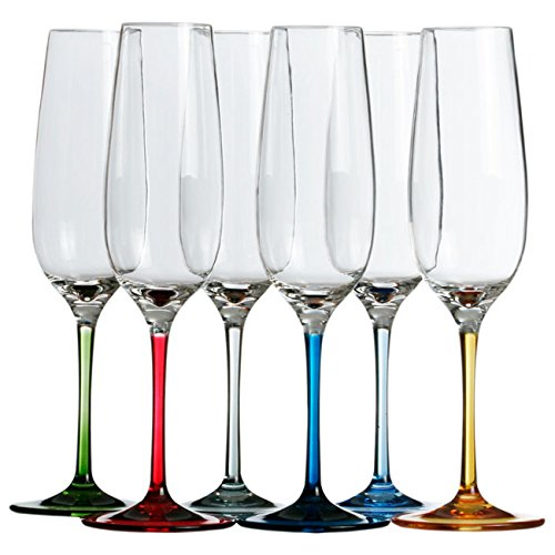MB Coastal Designs Party Shatter Proof Champagne Glass with Colored Stem, Clear, Set of 6