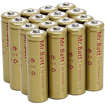 Mr.Batt NiCd AA Rechargeable Batteries for Solar Lights, 1000mAh 1.2V (Pack of 16)