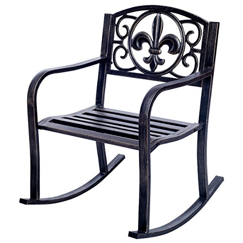 Giantex Patio Metal Porch Rocking Chair Seat Deck Outdoor Backyard Glider Rocker Flower Design