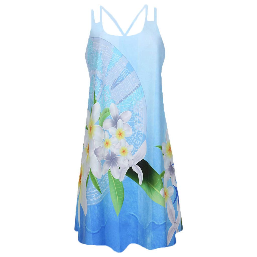 BB67 Vintage Boho Women Summer Sleeveless Beach Printed Short Party Mini Dress Blue